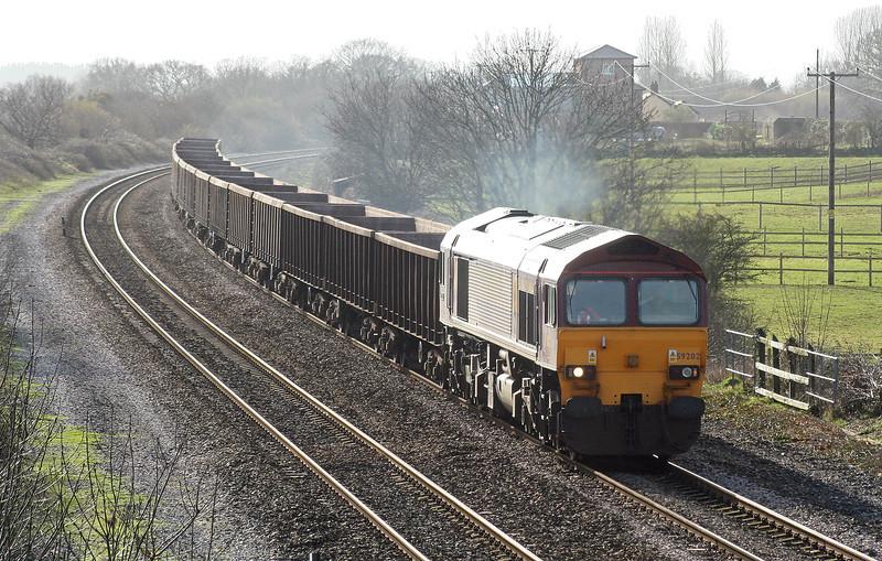 59202, 11.56 Exeter Riverside Yard-Westbury Yard, Cogload, 22-2-07.