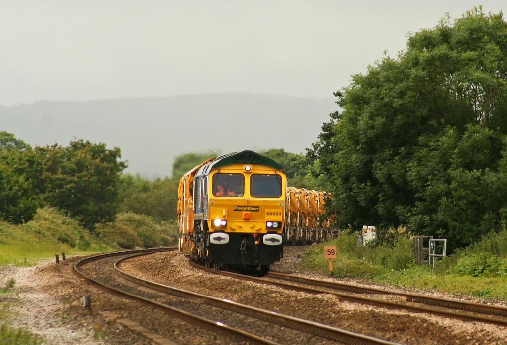 66623, 09.41 Taunton Fairwater Yard-Westbury Virtual Quarry, Cogload Junction, 3-7-07.