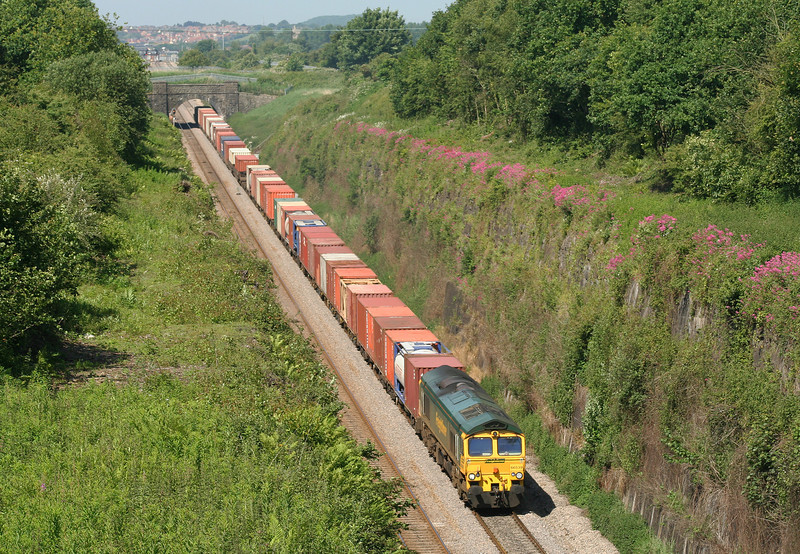 66539, 10.02 Cardiff Wentloog-Southampton Millbrook, approaching Severn Tunnel (taken from Caldicot), 5-6-07.