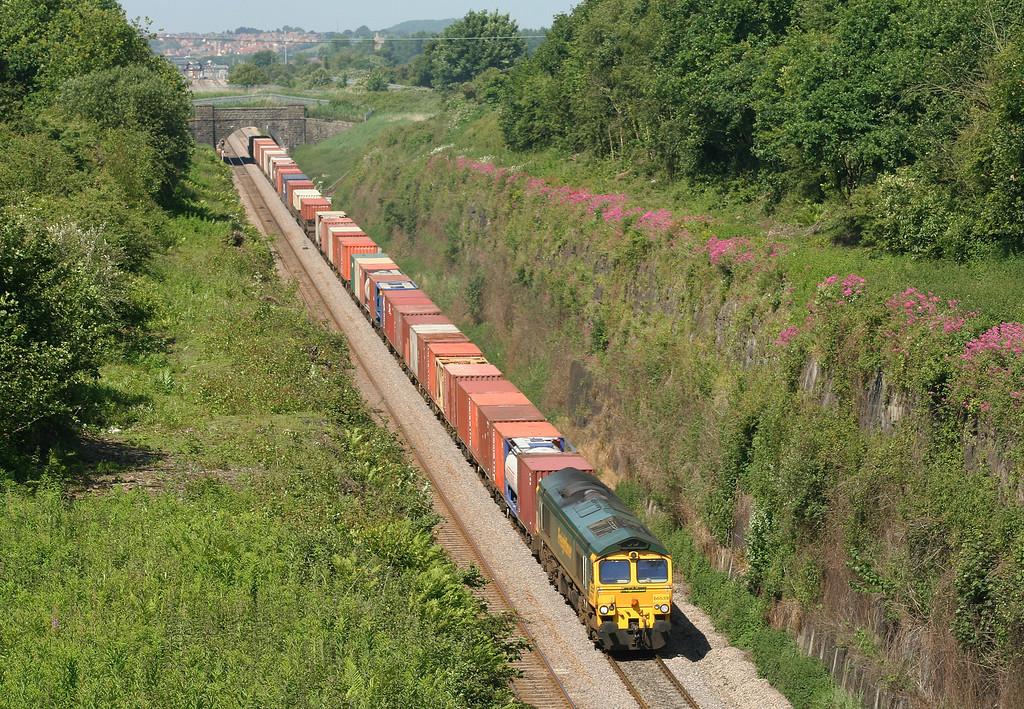 66539, 10.02 Cardiff Wentloog-Southampton Millbrook, approaching Severn Tunnel (taken from Caldicot), 5-6-07.
