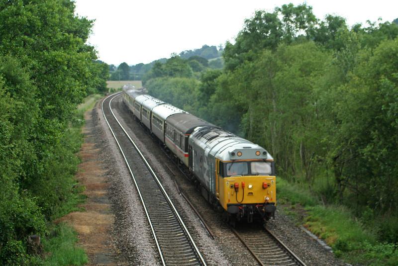 50049/57601, top'n'tail 07.14 Leicester-Paignton, Westcott, near Cullompton, 16-6-07.