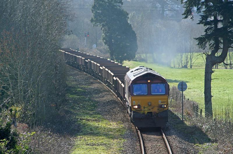 66027, 07.33 Westbury Yard-Meldon Quarry, Cowley, near Exeter, 14-3-07.
