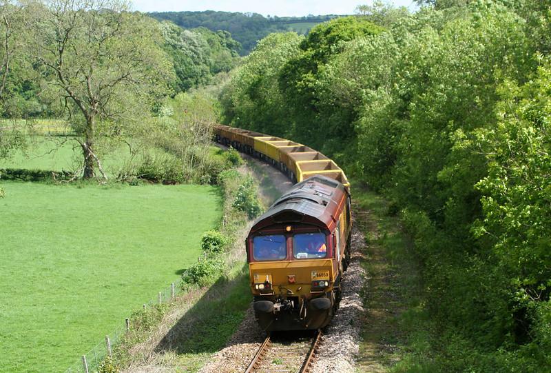 66050, 12.35 Westbury Yard-Meldon Quarry, Cowley, near Exeter, 14-5-07.