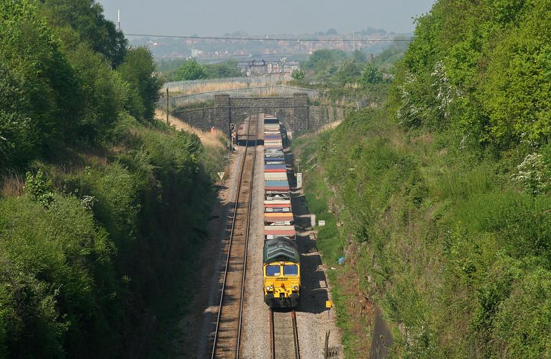 66539, 10.02 Cardiff Wentloog-Southampton Millbrook, approaching Severn Tunnel, taken from Caldicot, 8-5-08.