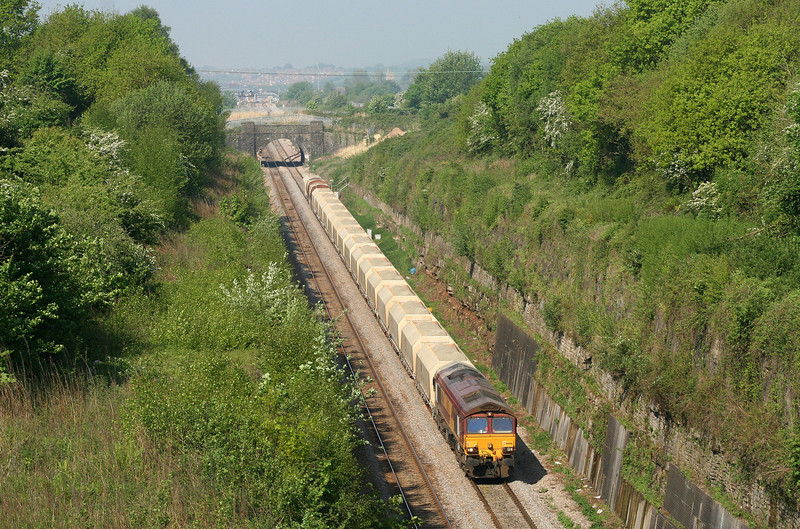 66016, late-running 20.40 Moreton-on-Lugg-Hayes, approaching Severn Tunnel, taken from Caldicot, 8-5-08.