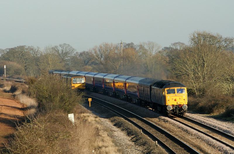 47805, Derby Litchurch Lane-Plymouth Laira ecs; 143619, Taunton-Cardiff Central, Creech St Michael, near Taunton, 13-2-08.