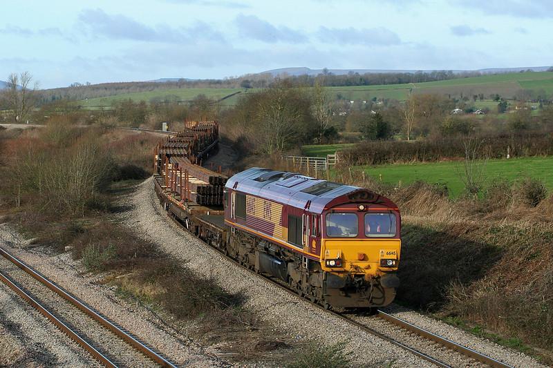 66145, 09.41 Newport Alexandra Dock Junction-Bristol East Depot, Llandevenny, near Llanwern, 6-2-08.