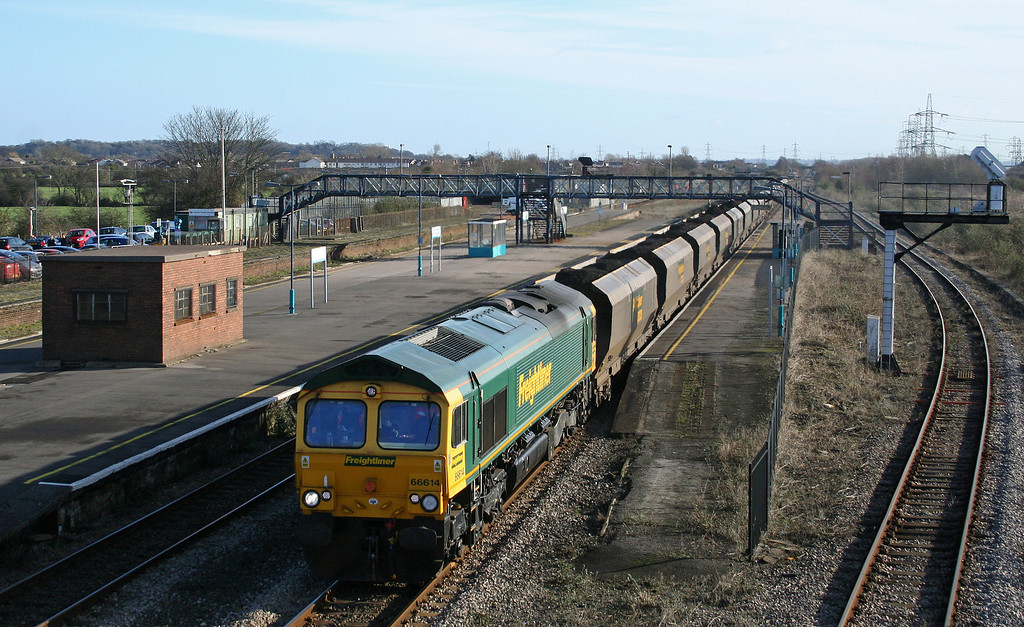 66614, 06.56 Portbury-Rugeley Power Station, Severn Tunnel Junction,  6-2-08.