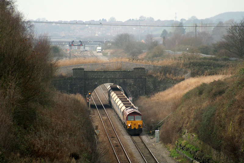 59203, 12.20 Machen-Westbury Yard, departing loop and approaching Severn Tunnel, taken from Caldicot, 29-1-08.
