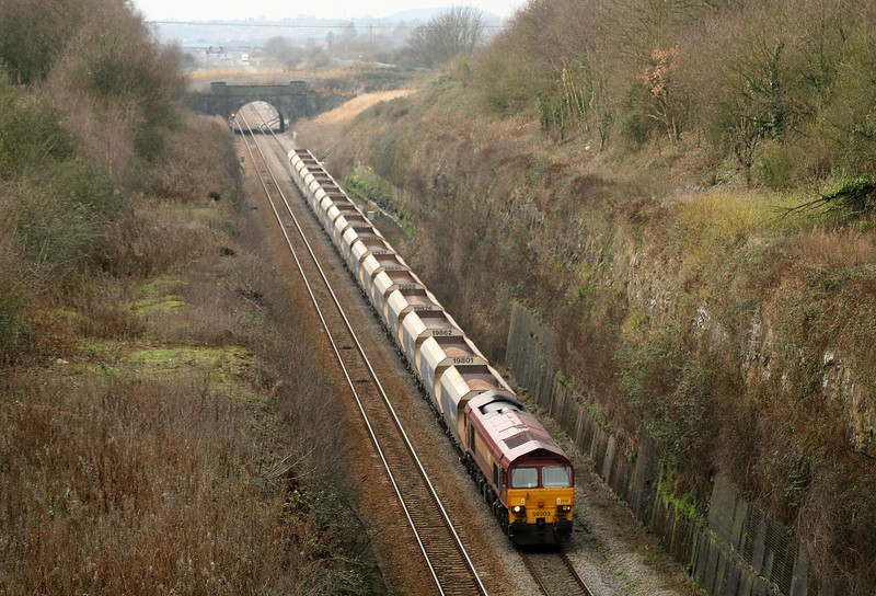 59203, 12.20 Machen-Westbury Yard, departs loop and approaches Severn Tunnel, taken from Caldicot, 29-1-08.