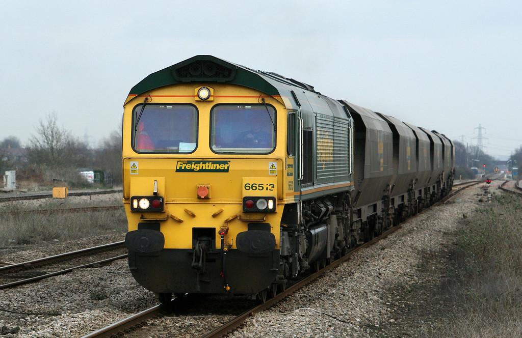 66513, 10.25 Portbury-Rugeley Power Station, Severn Tunnel Junction, 29-1-08.