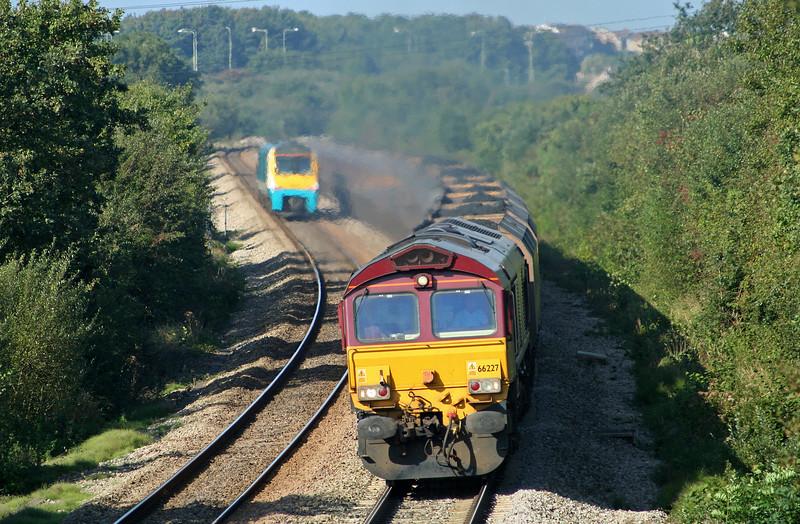 66227, Onllwyn-Aberthaw Power Station; 175007, Cardiff Central-Swansea shuttle, Stormy Down, near Bridgend, 18-9-08.
