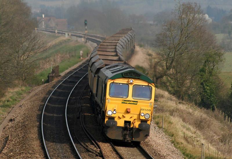 66559, 11.46 Crewe Basford Hall Yard-Bristol Stoke Gifford Yard,  via Chipping Sodbury run-round, Coalpit Heath, near Bristol, 3-4-09.