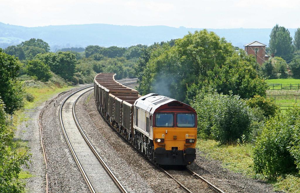 59202, 12.26 Exeter Riverside Yard-Westbury Yard, Cogload Junction, 27-8-09.