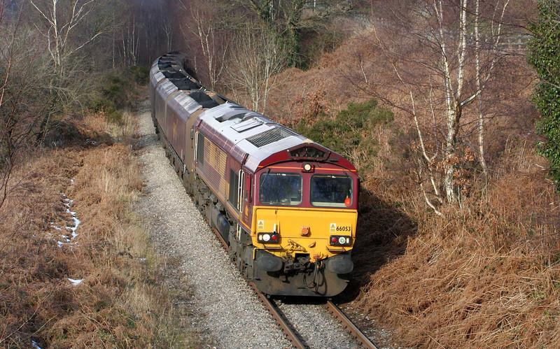 66053, 10:39 Cwmbargoed Opencast Colliery-Aberthaw Power Station, Trelewis, near Nelson, 11-2-09.