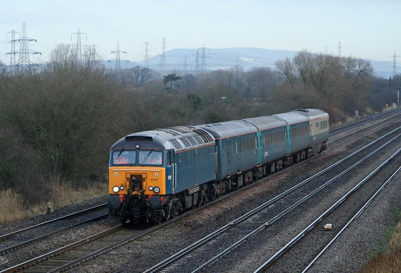 57316, 05.32 Holyhead-Cardiff, Coedkernow, near Newport, 11-2-09, late.
