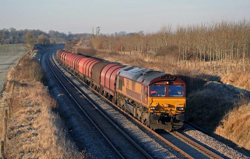 66013, 08.06 Newport Alexandra Dock Junction-Swindon Steel Terminal, Surrendell Farm, Hullavington, 6-1-09.