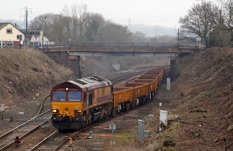 66011, Westbury Yard-Exeter Riverside Yard, departing Tiverton loops, 31-1-09.