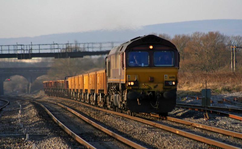 66116, 15.14 Newport Alexandra Dock Junction-Westbury Yard, Pilning, 6-1-09.