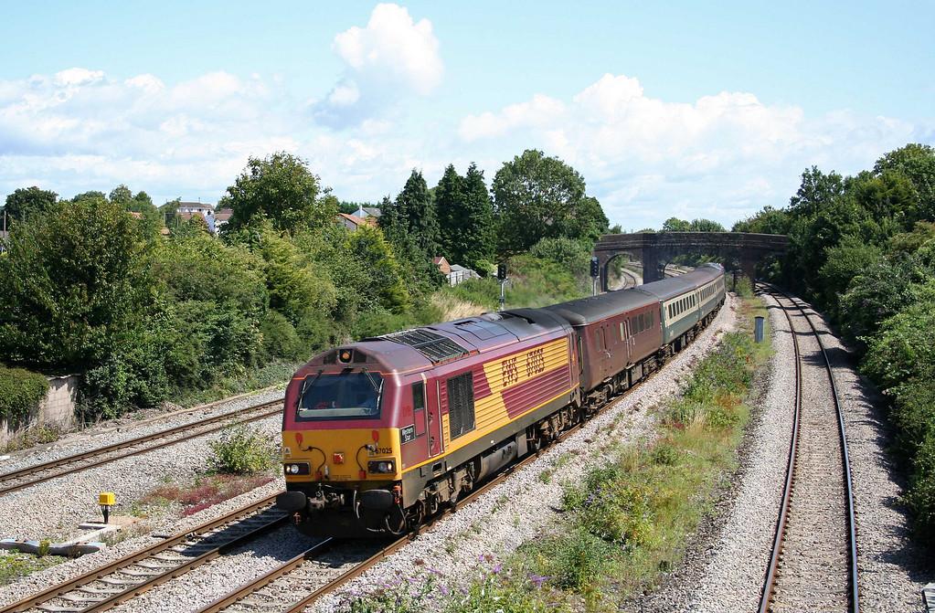 67025/67005, 11.02 Taunton-Cardiff Central,  Undy, near Magor, 30-7-09.