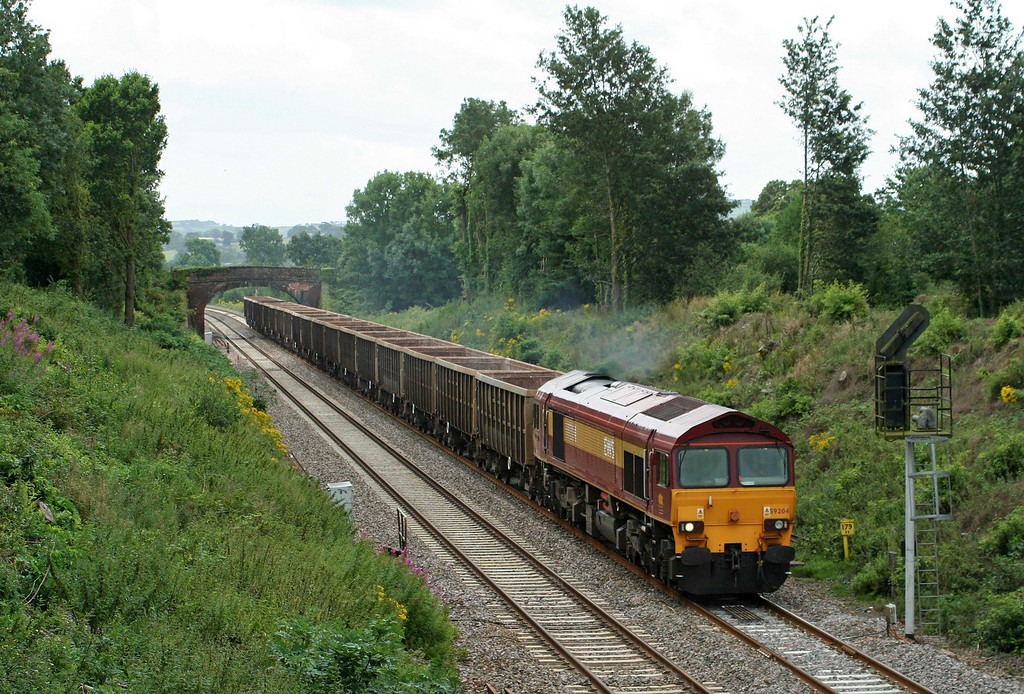 59204, 12.26 Exeter Riverside Yard-Westbury Yard, Willand, near Tiverton, 22-7-09.