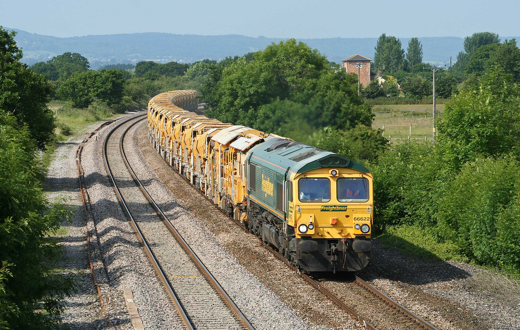 66622, 08.21 Taunton Fairwater Yard-Westbury Virtual Quarry, Cogload Junction, 24-6-09.
