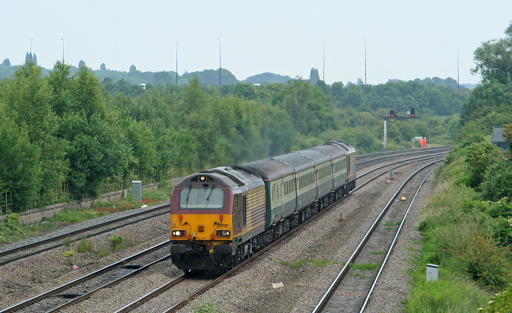 67017/67016, 11.02 Taunton-Cardiff Central, Undy, near Magor, 25-6-09.