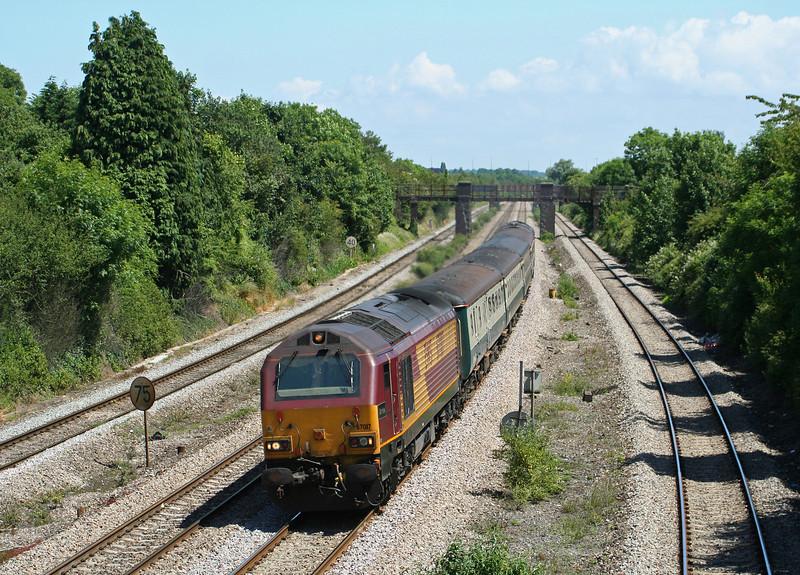 67017/67016, 11.02 Taunton-Cardiff Central, Magor, 16-6-09.