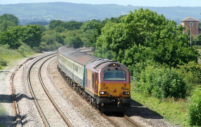 67017/67016, 11.02 Taunton-Cardiff Central, Cogload, 19-6-09.