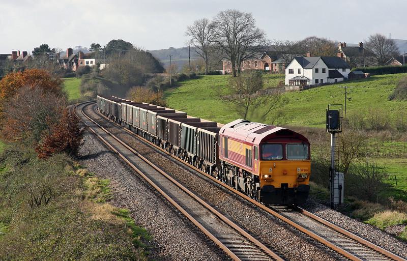 59201, 11.58 Exeter Riverside Yard-Westbury Yard, Rewe, near Exeter, 26-11-09.