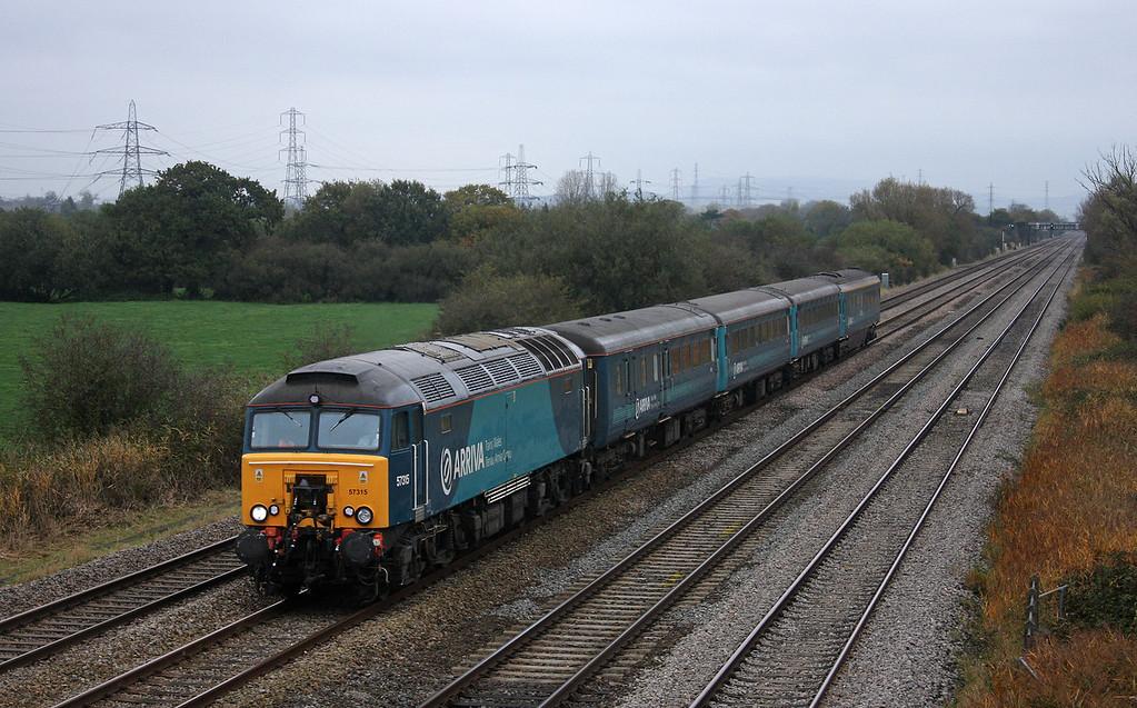57315, 05.32 Holyhead-Cardiff Central, Coedkernow, near Newport, 27-10-09.