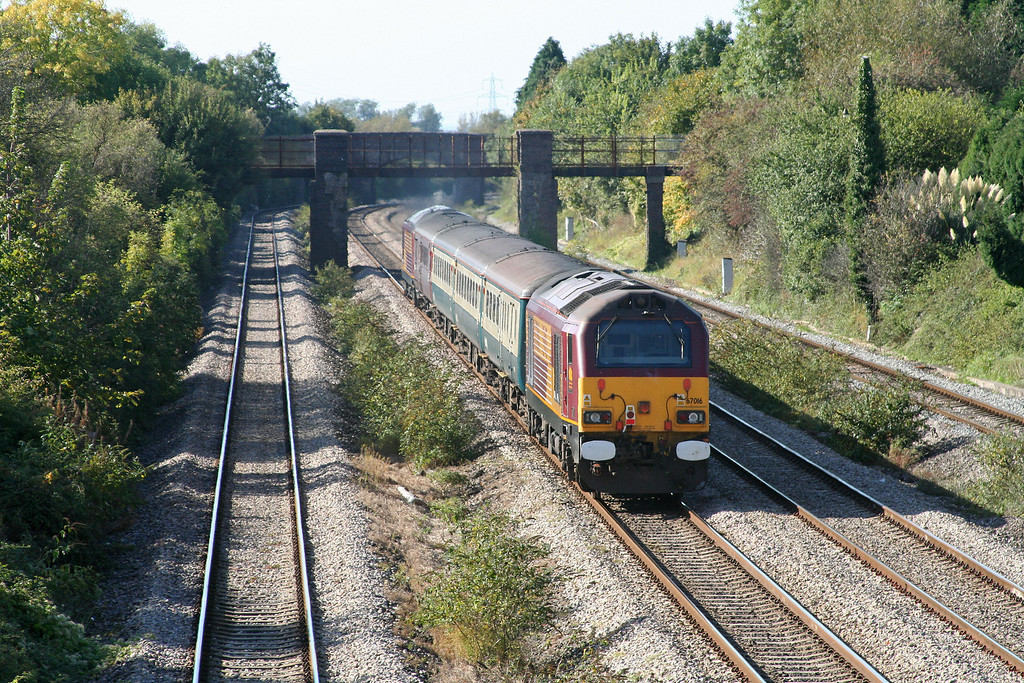 67017/67016, 11.02 Taunton-Cardiff Central, Undy, near Magor, 8-10-09.