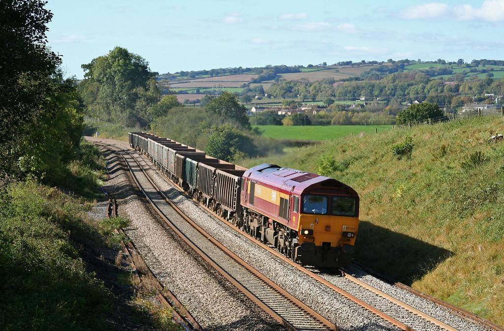 59204, 12.26 Exeter Riverside Yard-Westbury Yard, Whiteball, 12-10-09.