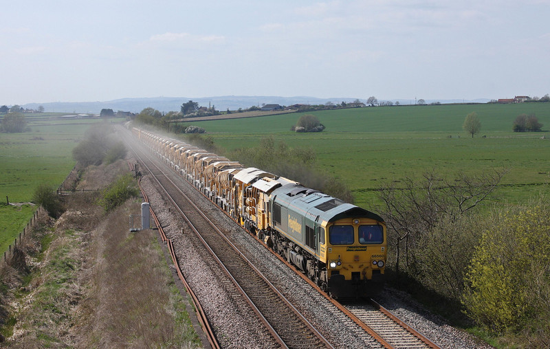 66560, 14.30 Taunton Fairwater Yard-Westbury Virtual Quarry, Oath, near Langport, 16-4-10.