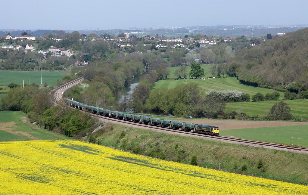 66599, 08.28 Cardiff Pengam-Theale, Newton St Loe, near Bath, 27-4-10.
