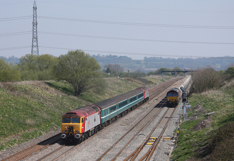 57302/57309, 14.00 Cardiff Central-Taunton, Pilning, 23-4-10, passing 66037, 10.47 Hayes-Moreton-on-Lugg, trapped in loop by points failure.