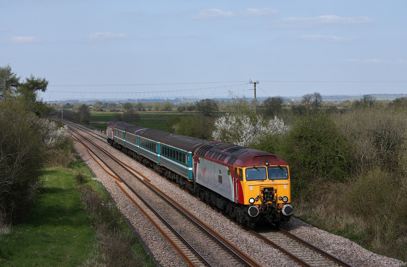 57302/57312, 14.00 Cardiff Central-Taunton, Banklands, near Durston, 16-4-10.