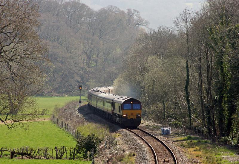 66002/66182, top'n'tail UK Railtours, The Dartmoor Railway and Okehampton, 07.38 London Paddington-Okehampton, Langford Road, near Newton St Cyres, 17-4-10.