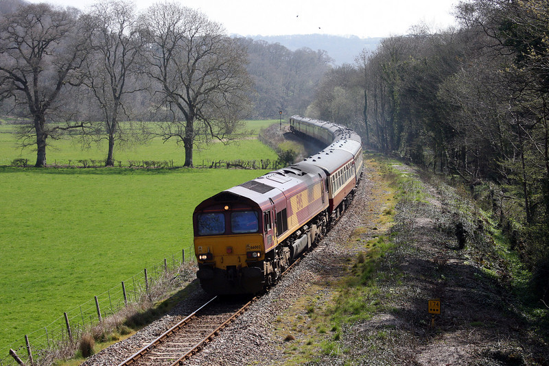 66002/66182, top'n'tail UK Railtours, The Dartmoor Railway and Okehampton, 07.38 Paddington-Okehampton, Langford Road, near Newton St Cyres, 17-4-10.
