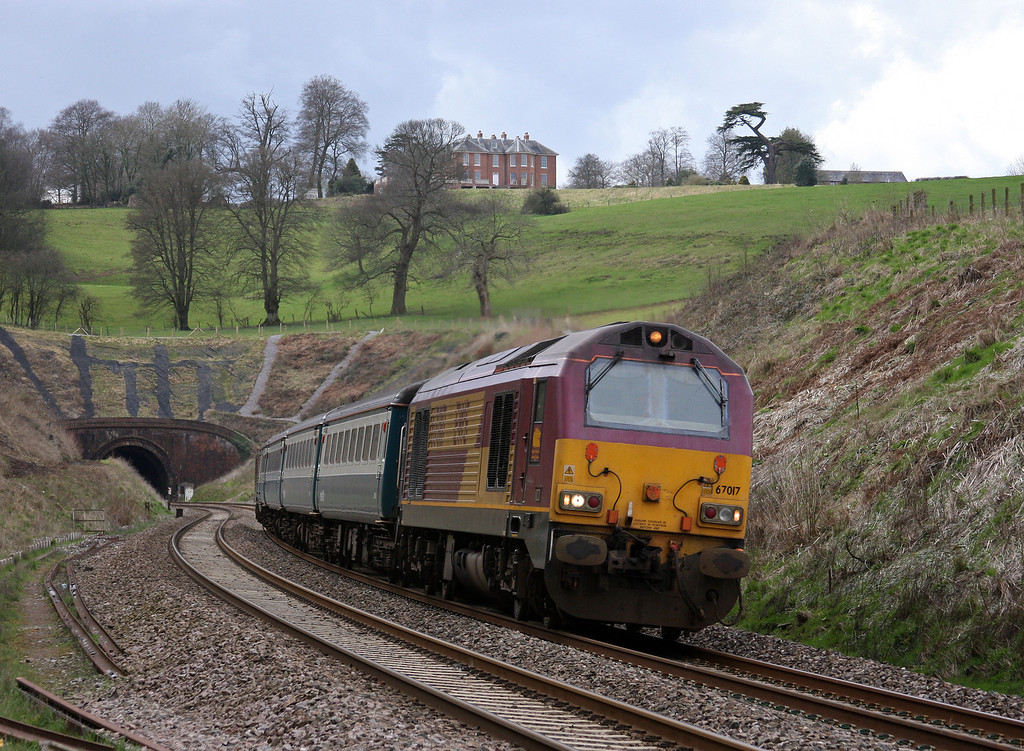 67017/67022, 12.47 Paignton-Cardiff Central, Marlands, near Wellington, 1-4-10.