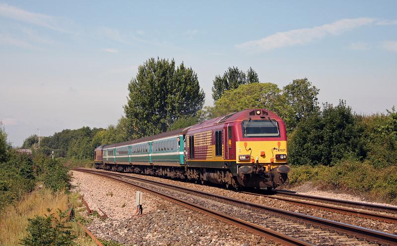 67027/67016, 1102 Taunton-Cardiff Central, Bathpool, Taunton, 16-8-10.