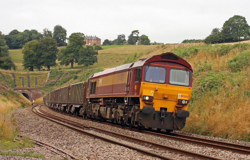 59202, 11.58 Exeter Riverside Yard-Whatley Quarry, Marlands, near Wellington, 9-8-10.
