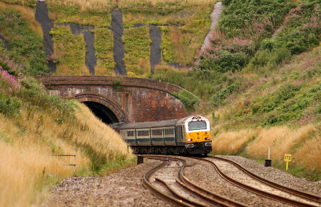 67029/67017, 12.47 Paignton-Cardiff Central, Marlands, near Wellington, 3-8-10.
