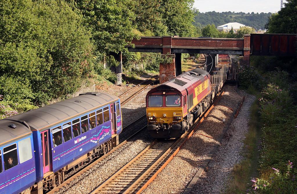 143619, 08.36 Bristol Temple Meads-Avonmouth; 66035, 03.06 Warrington Arpley-Portbury, Lawrence Hill, Bristol, 5-8-10.