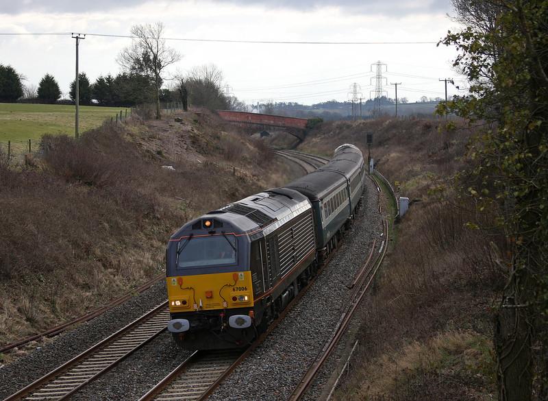 67006/67005,12.47 Paignton-Cardiff Centrral, Willand, near Cullompton, 9-2-10.