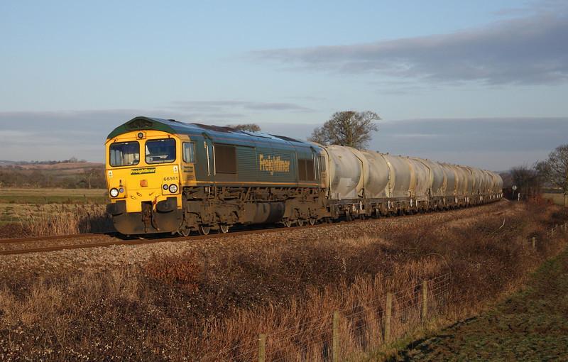 66551, 21.36 Earles Sidings-Moorswater, Powderham, near Exeter, 11-2-10.