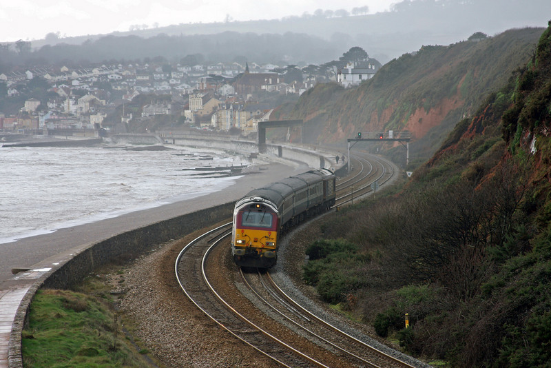 67017/67016, 12.47 Paignton-Cardiff Central, Langstone Rock, Dawlish Warren, 20-1-10.