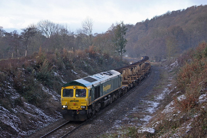 66597, 14.00 Meldon Quarry-Thingley Sidings, Cowley, near Exeter, 5-1-10.