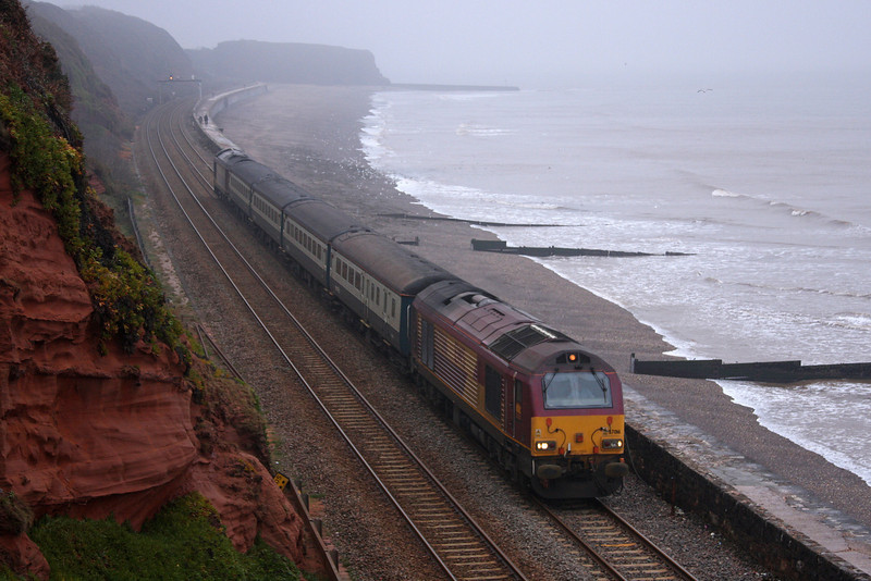 67016/67017, 08.00 Cardiff Central-Paignton, Dawlish, 14-1-10.