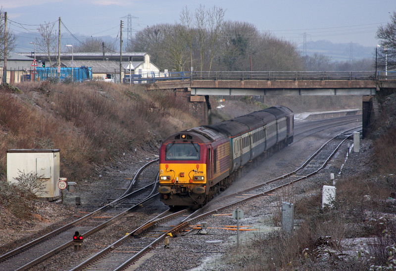 67016/67017, 08.00 Cardiff Central-Paignton, Willand, near Cullompton, 5-1-10.